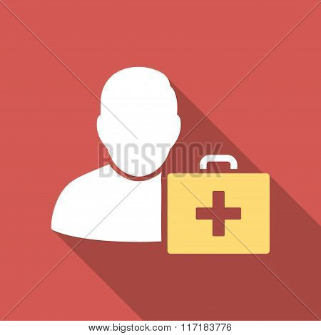 First Aid Man Flat Square Icon with Long Shadow