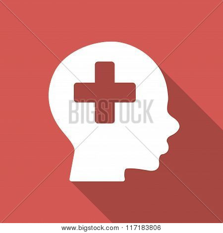 Head Medicine Flat Square Icon with Long Shadow