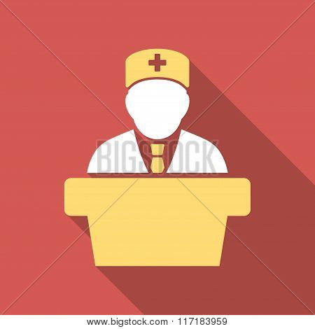 Health Care Official Flat Square Icon with Long Shadow