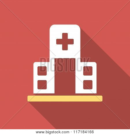 Hospital Building Flat Square Icon with Long Shadow