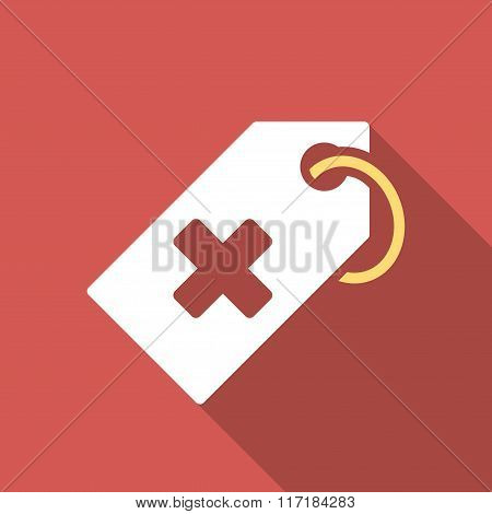 Hospital Tag Flat Square Icon with Long Shadow