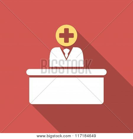Medical Bureaucrat Flat Square Icon with Long Shadow