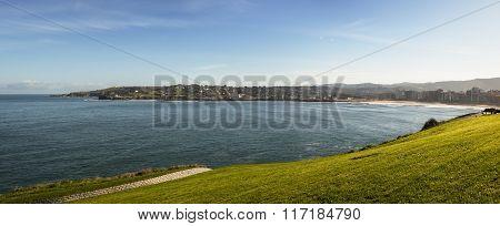 Ocean And Grass  Pan View Of Gijon