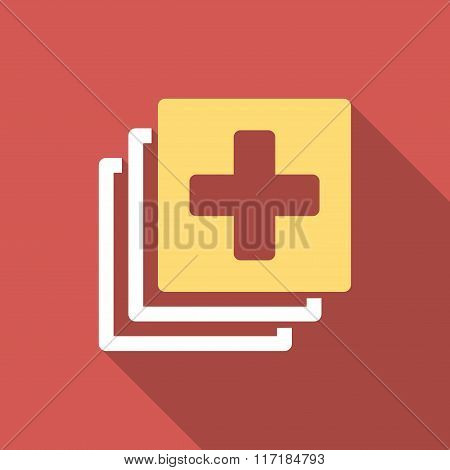 Medical Documents Flat Square Icon with Long Shadow
