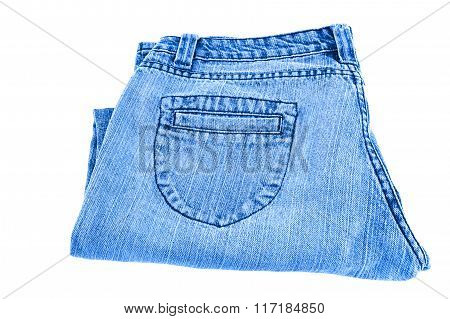Blue jeans on white background