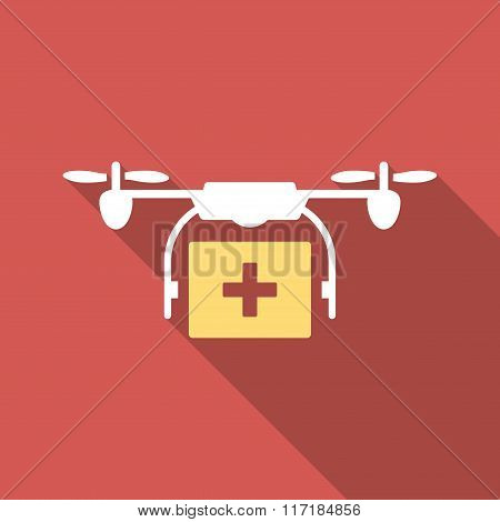 Medical Drone Shipment Flat Square Icon with Long Shadow