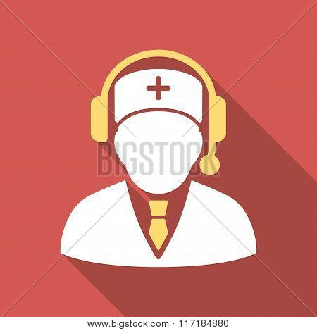 Medical Emergency Manager Flat Square Icon with Long Shadow