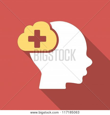 Medical Idea Flat Square Icon with Long Shadow