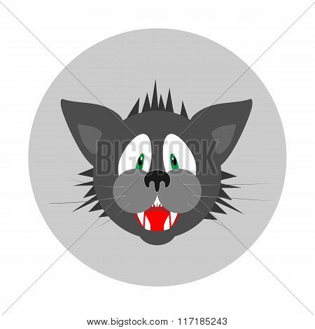 Fearful cats head icon. Care of pets, insurance symbol. Danger info illustration. Vector
