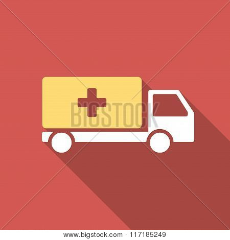 Medical Shipment Flat Square Icon with Long Shadow