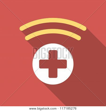 Medical Source Flat Square Icon with Long Shadow