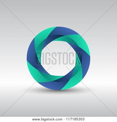 Abstract Circle 3D Logo Icon