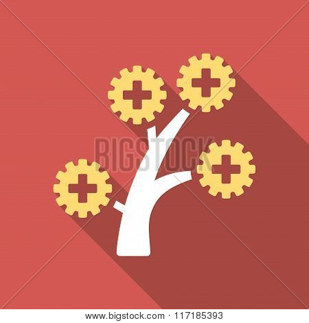 Medical Technology Tree Flat Square Icon with Long Shadow