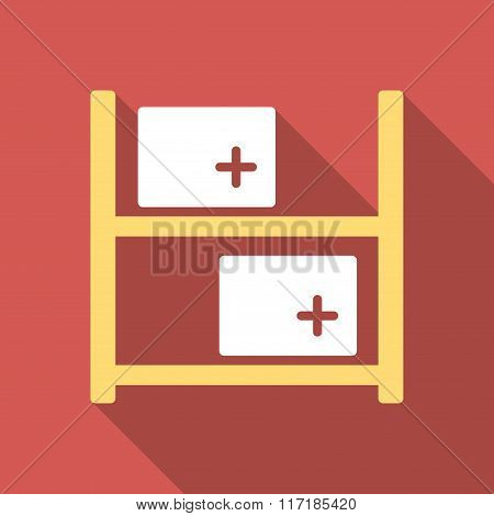 Medical Warehouse Flat Square Icon with Long Shadow
