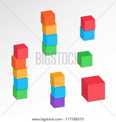 Cube combination icons set. Perspective view. Compositions of tree, five, four blocks. Building, log