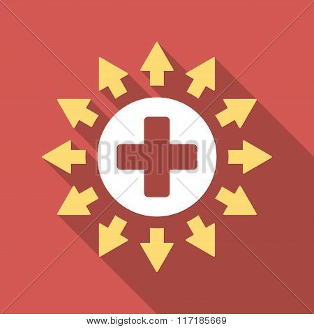 Pharmacy Distribution Flat Square Icon with Long Shadow