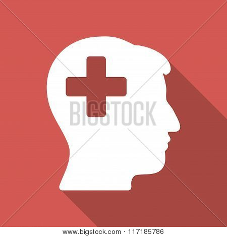 Plus Man Head Flat Square Icon with Long Shadow
