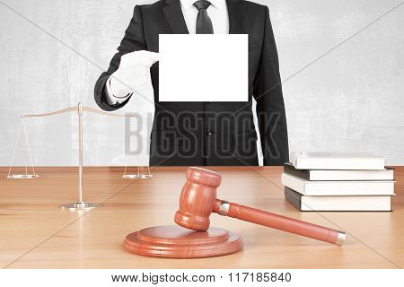 Judge Table With Gavel, Book, Scales And Man In White Gloves With Blank Paper, Mock Up