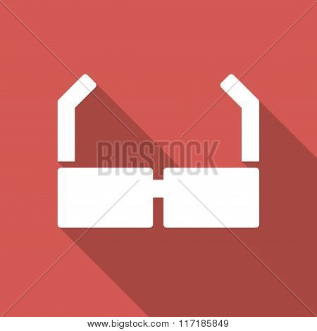 Spectacles Flat Square Icon with Long Shadow