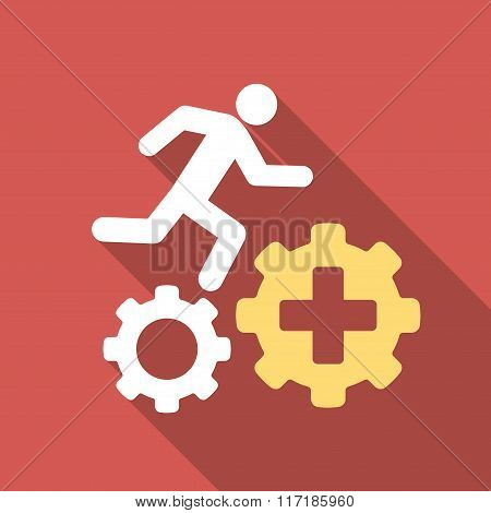 Treatment Process Flat Square Icon with Long Shadow