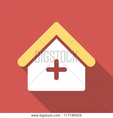 Clinic Flat Square Icon with Long Shadow