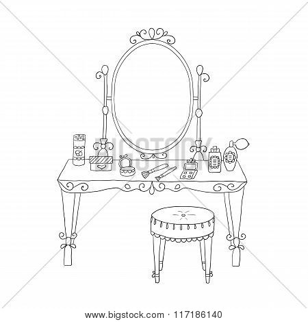 Vanity table with makeup and a chair.