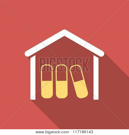 Drugs Garage Flat Square Icon with Long Shadow