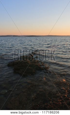 Rocky Coast After Sunrise In The  Summer Morning In Croatia