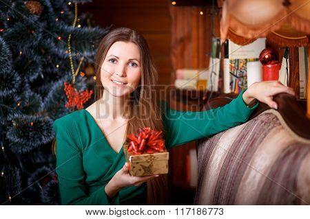 Beautiful Woman With Cristmas Gift