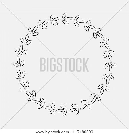 Laurel wreath cicle tattoo. Black stylized ornament, cutting out leaf sign. Victory, peace, glory sy
