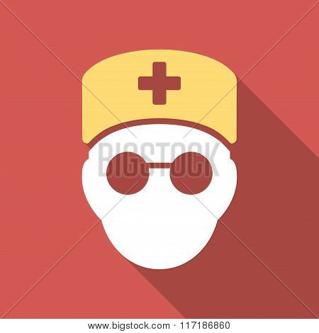 Medic Head Flat Square Icon with Long Shadow
