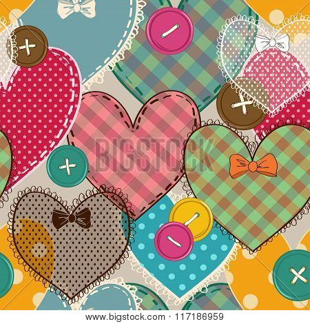 Seamless Pattern Of Heart Patchworks And Buttons
