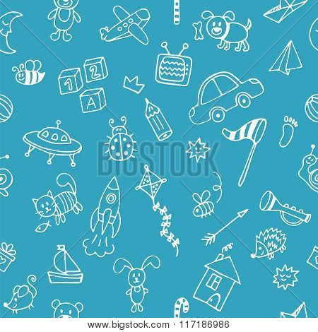 Background For Cute Little Boys. Hand Drawn Children Drawings Seamless Pattern. Doodle Children Draw