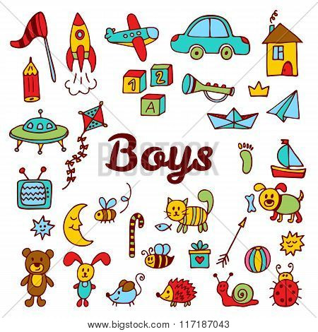 Boys Design Elements. Cute Hand Drawn Boys Collection Of Toys