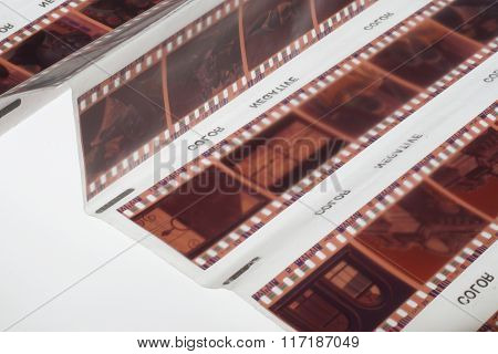Old Negative 35Mm Film Strip On White Background