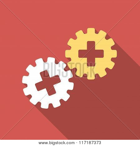 Medical Gears Flat Square Icon with Long Shadow