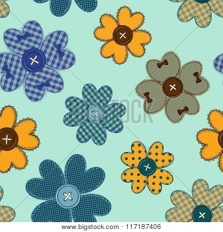 Seamless Pattern Of Flower Patchworks And Buttons