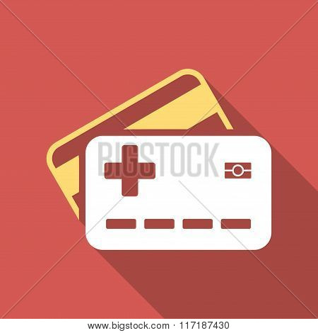 Medical Insurance Cards Flat Square Icon with Long Shadow