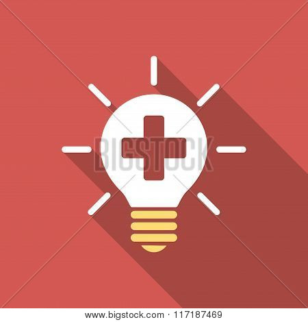 Medical Lamp Flat Square Icon with Long Shadow