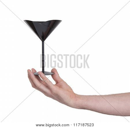 Black Plastic Coctail Glass In Hand