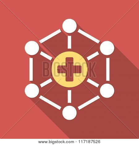 Medical Network Flat Square Icon with Long Shadow