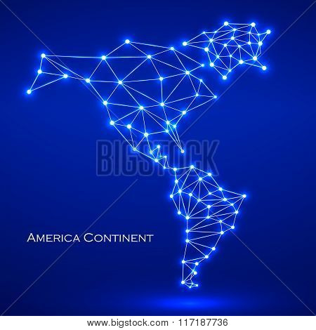 Abstract polygonal map America continent with glowing dots and lines network connections