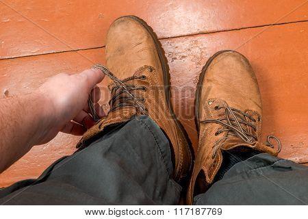 Feet In Winter Boots
