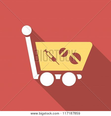 Medication Shopping Cart Flat Square Icon with Long Shadow