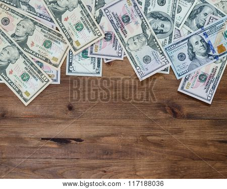 Pile of US dollar bills