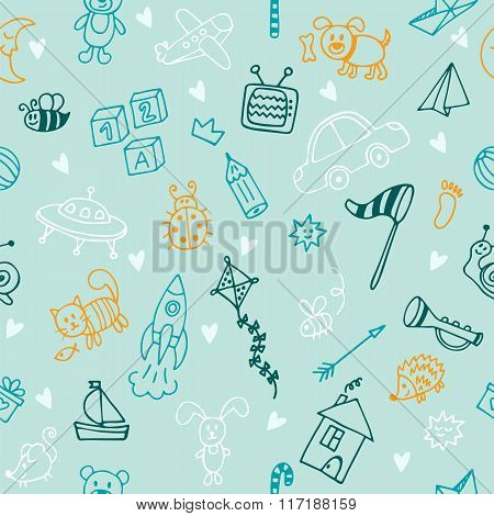 Hand Drawn Children Drawings Color Seamless Pattern. Doodle Children Drawing Background. Background