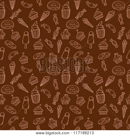 Hand Drawn Seamless Pattern With Cupcakes, Sweets, Bakery And Desserts. Sweet Desserts Background