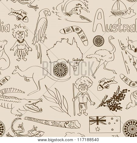 Sketch Australia Seamless Pattern.