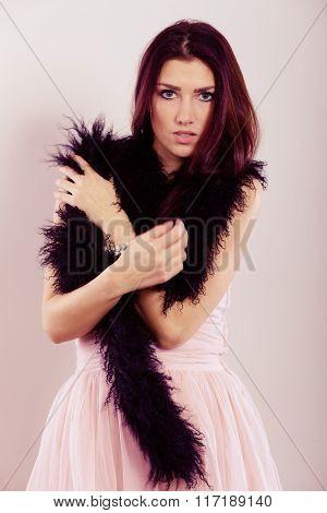 Brunette Woman In Bright Dress Boa Feather