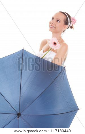 Pretty Bride Woman Holding Umbrella And Flower.